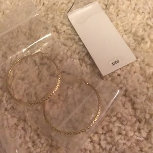 Jewelry - Large textured gold hoop earrings
